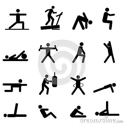 De pictogrammen van de geschiktheid en van de oefening