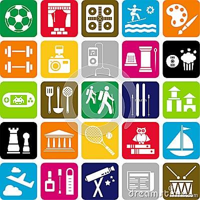 De pictogrammen van de hobby
