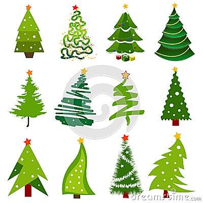 De pictogrammen van de kerstboom