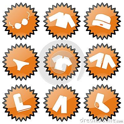 De Pictogrammen van de kleding