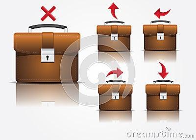 De pictogrammen van de koffer