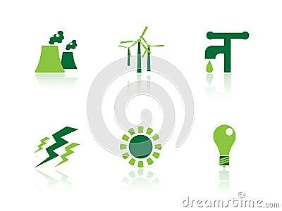 De pictogrammen van de macht en van de energie