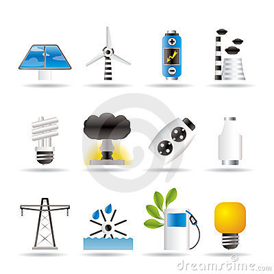 De pictogrammen van de macht, van de energie en van de elektriciteit