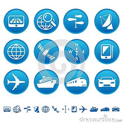 De pictogrammen van de navigatie & van het vervoer