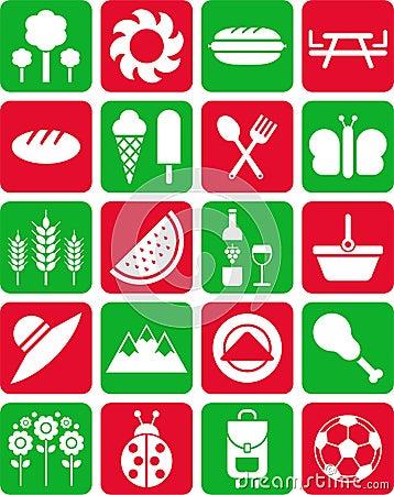 De pictogrammen van de picknick