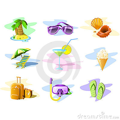 De pictogrammen van de reis en van de Vakantie