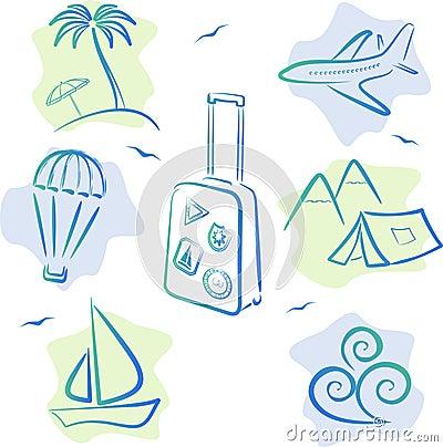 De Pictogrammen van de reis en van het toerisme