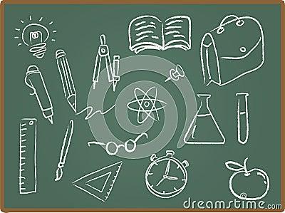 De Pictogrammen van de school op Bord