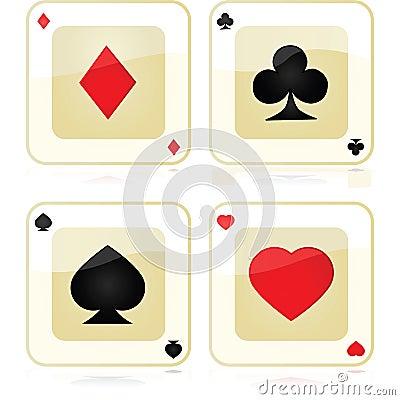De pictogrammen van de speelkaart