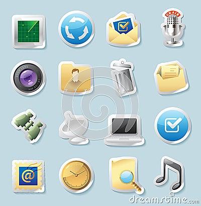 De pictogrammen van de sticker voor tekens en interface