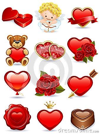 De pictogrammen van de valentijnskaart