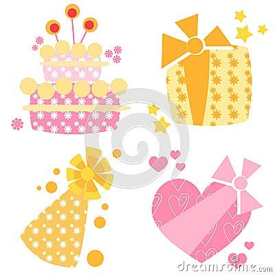 De pictogrammen van de verjaardag
