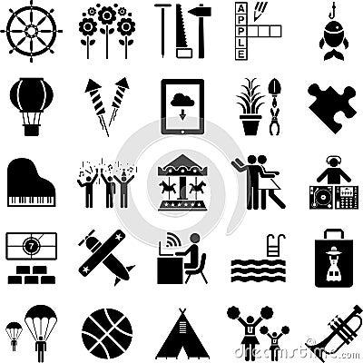 De pictogrammen van de vrije tijd