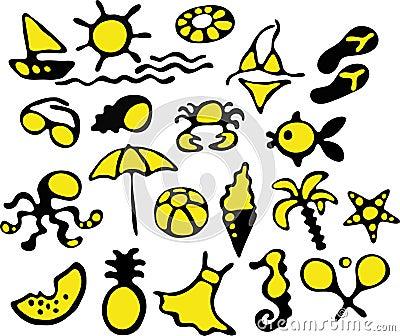 De pictogrammen van de zomer
