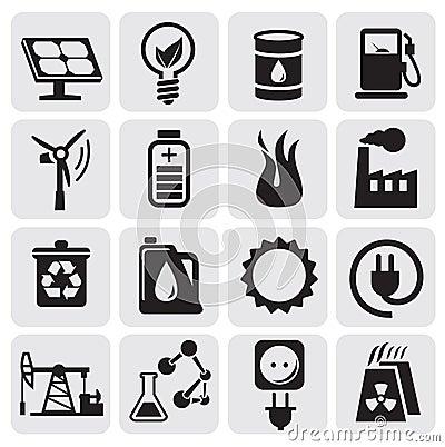 De pictogrammen van Eco voor schone energie