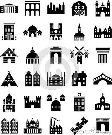 De pictogrammen van gebouwen