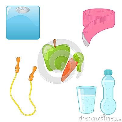 De pictogrammen van het dieet en van de geschiktheid