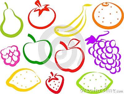 De Pictogrammen van het fruit