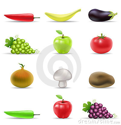 De pictogrammen van het fruit en van groenten