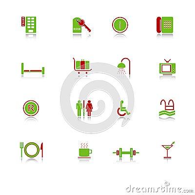De pictogrammen van het hotel - groen-rode reeks