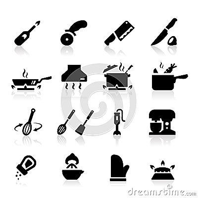 De pictogrammen van het keukengerei