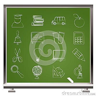 De pictogrammen van het onderwijs en van de school