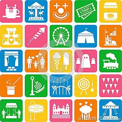 De pictogrammen van het Pretpark