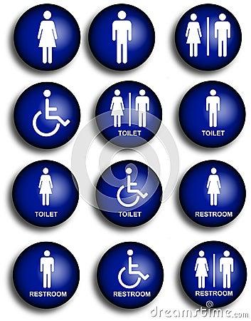 De pictogrammen van het toilet