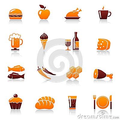 De pictogrammen van het voedsel en van de drank