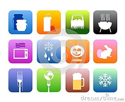 De pictogrammen van het voedsel en van de keuken