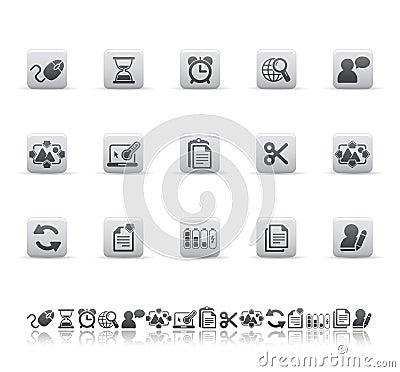 De pictogrammen van het Web en van het bureau