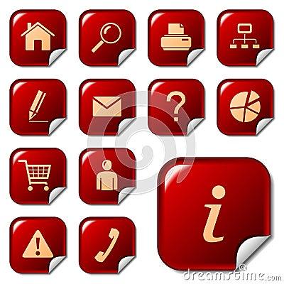 De pictogrammen van het Web op stickerknopen