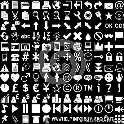 De Pictogrammen van het Web - Wit op Zwarte