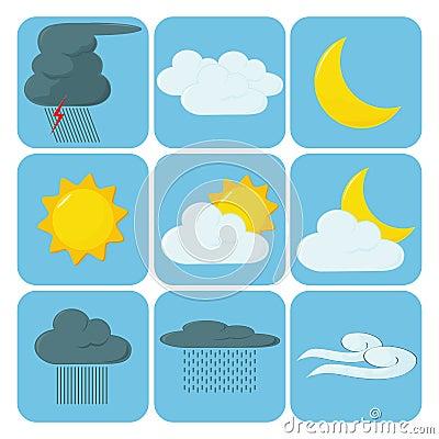 De Pictogrammen van het weer