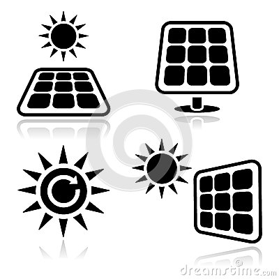 De pictogrammen van zonnepanelen