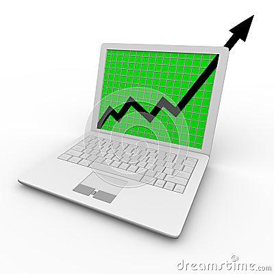 De Pijl van de groei op Laptop Computer