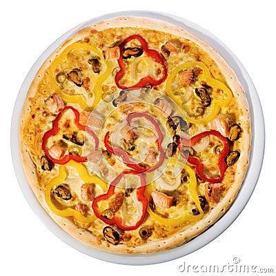 De pizza van zeevruchten vanaf de bovenkant