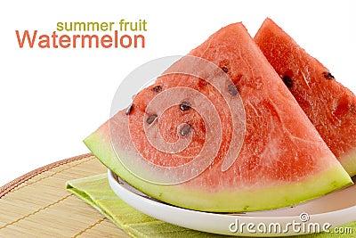 De plakken van de watermeloen