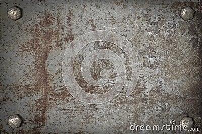 De plaque métallique grunge d art avec des vis