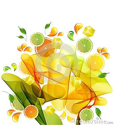 De plons van de sinaasappel, van de citroen en van het citroensap