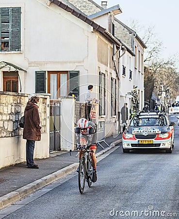 De proloog van Fietserandreas Klöden- Parijs Nice 2013 in Houille Redactionele Stock Foto
