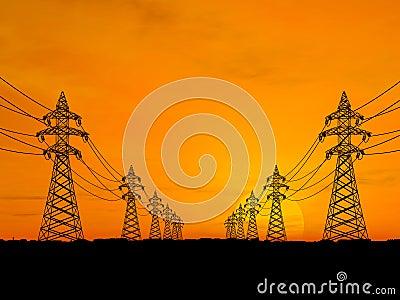 De pylonen van de elektriciteit