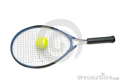 De racket en de bal van het tennis isoleren