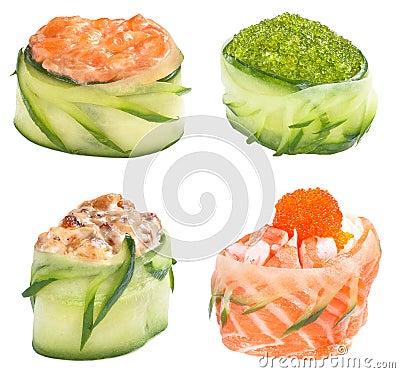 De reeks van het broodjesGunkan van sushi