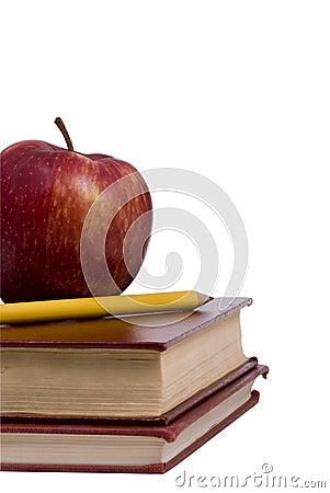 De Reeks van het onderwijs (appel en potlood op boek)