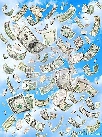 De regenende Dalende Dollars van de Hemel van het Geld
