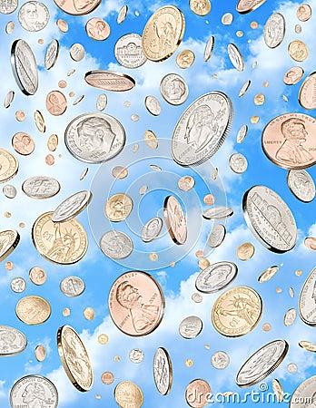 De regenende Hemel van de Muntstukken van het Geld