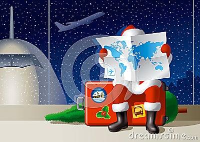 De reis van Kerstmis van de kerstman