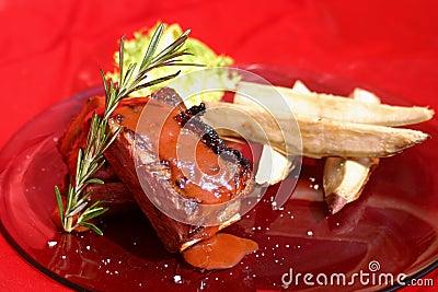 De ribben van het rundvlees