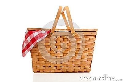 De rieten Mand van de Picknick met de Doek van de Gingang